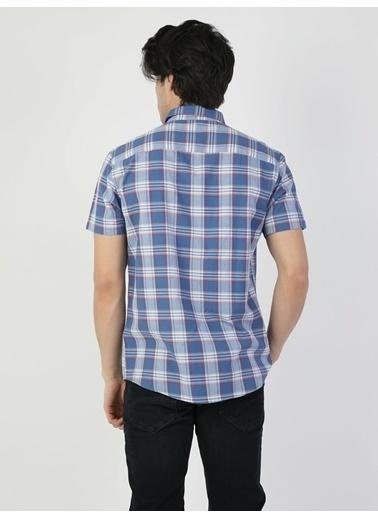 Colin's Regular Fit Standart Kol V Yaka Erkek Gömlek Kısa Kol Mavi